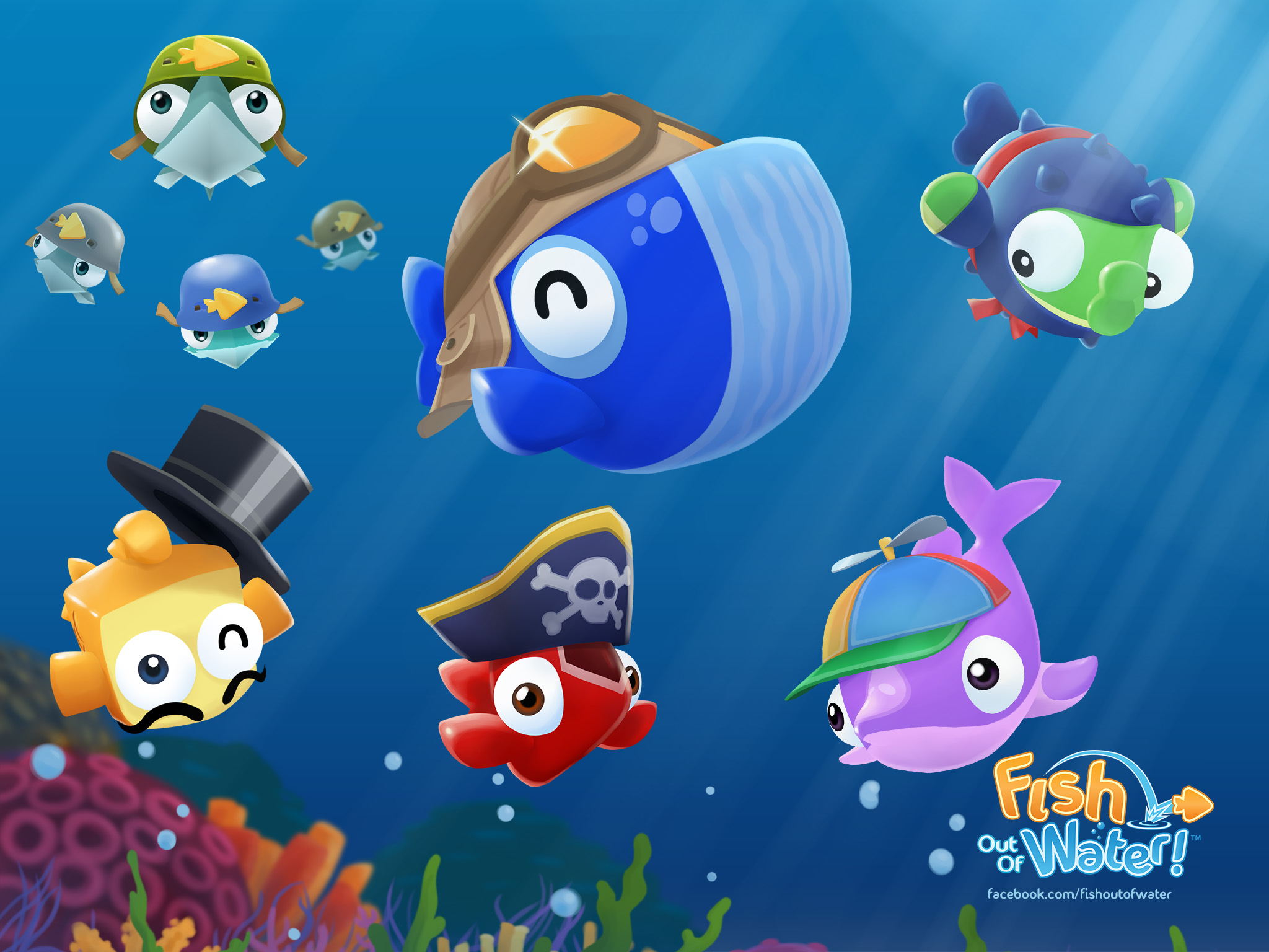 Wallpapers fish out of water the fun and colorful fish for Gold fish game